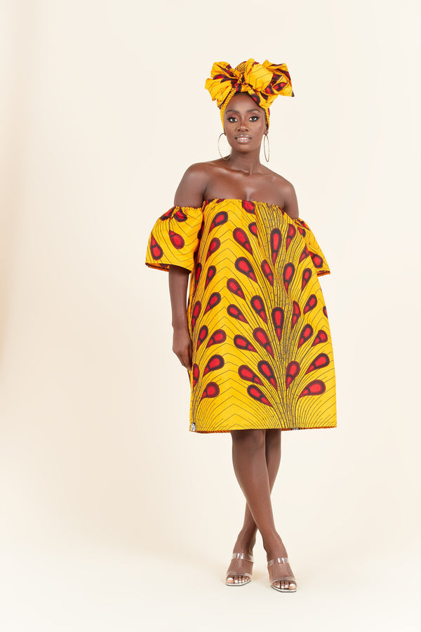 Grass-Fields Mid Lenght Dresses African Print Kani Dress