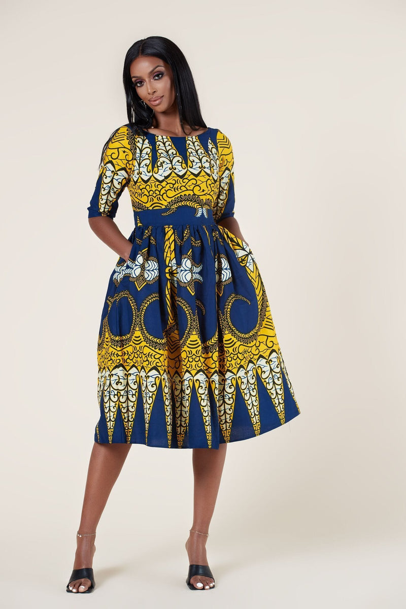 Grass-Fields Mid Lenght Dresses African Print Kayin Dress