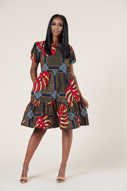 Grass-Fields Mid Lenght Dresses African Print Kebe Dress