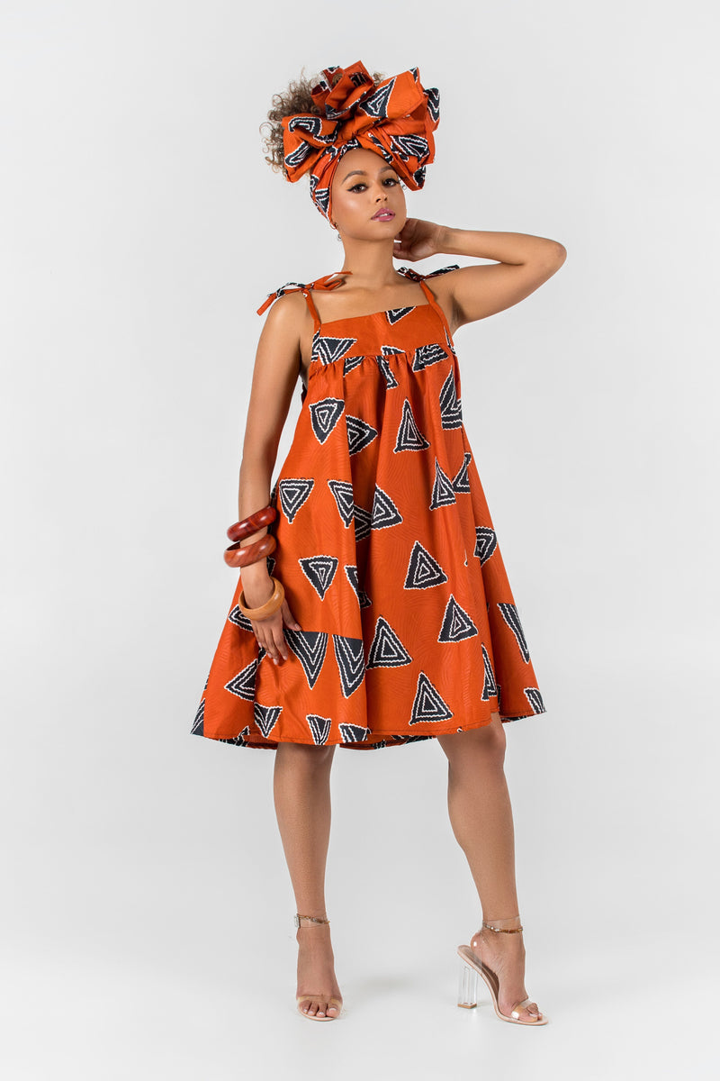 Grass-Fields Mid Lenght Dresses African Print Kenza Dress