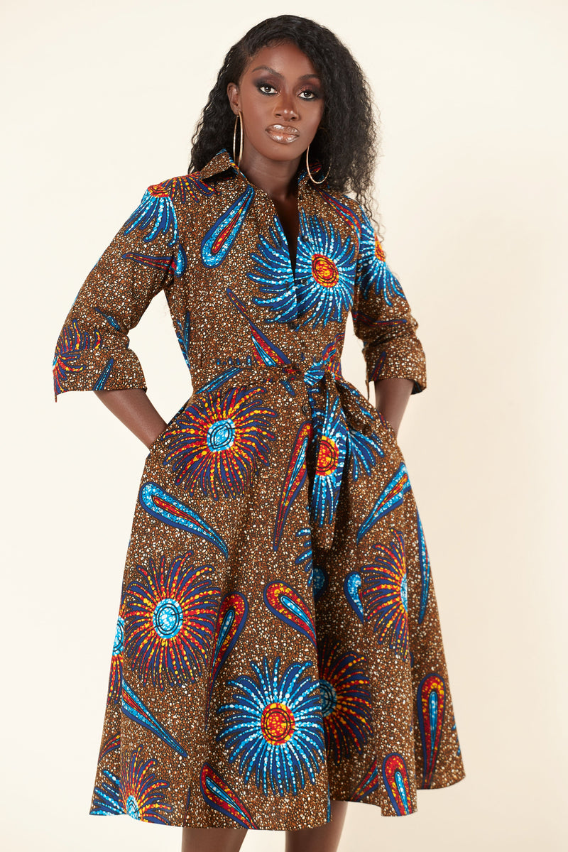 Grass-Fields Mid Lenght Dresses African Print Kiara Shirt Dress