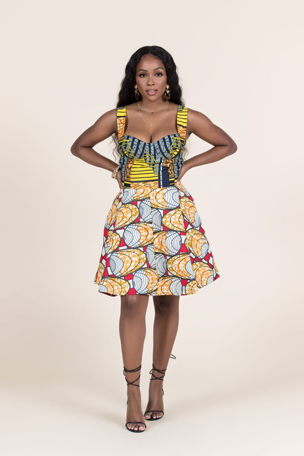 Grass-Fields Mid Lenght Dresses African Print Kimani Mini Dress
