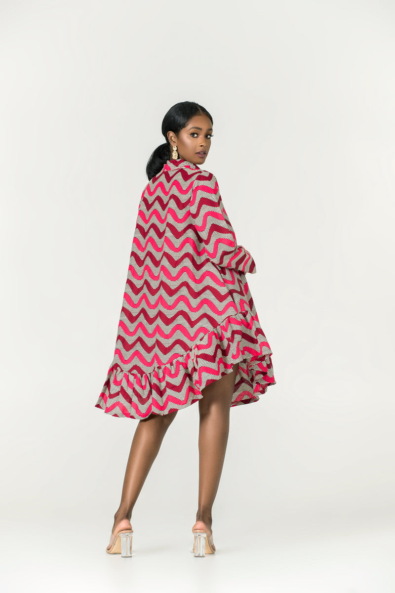 Grass-Fields Mid Lenght Dresses African Print Kimonia Dress