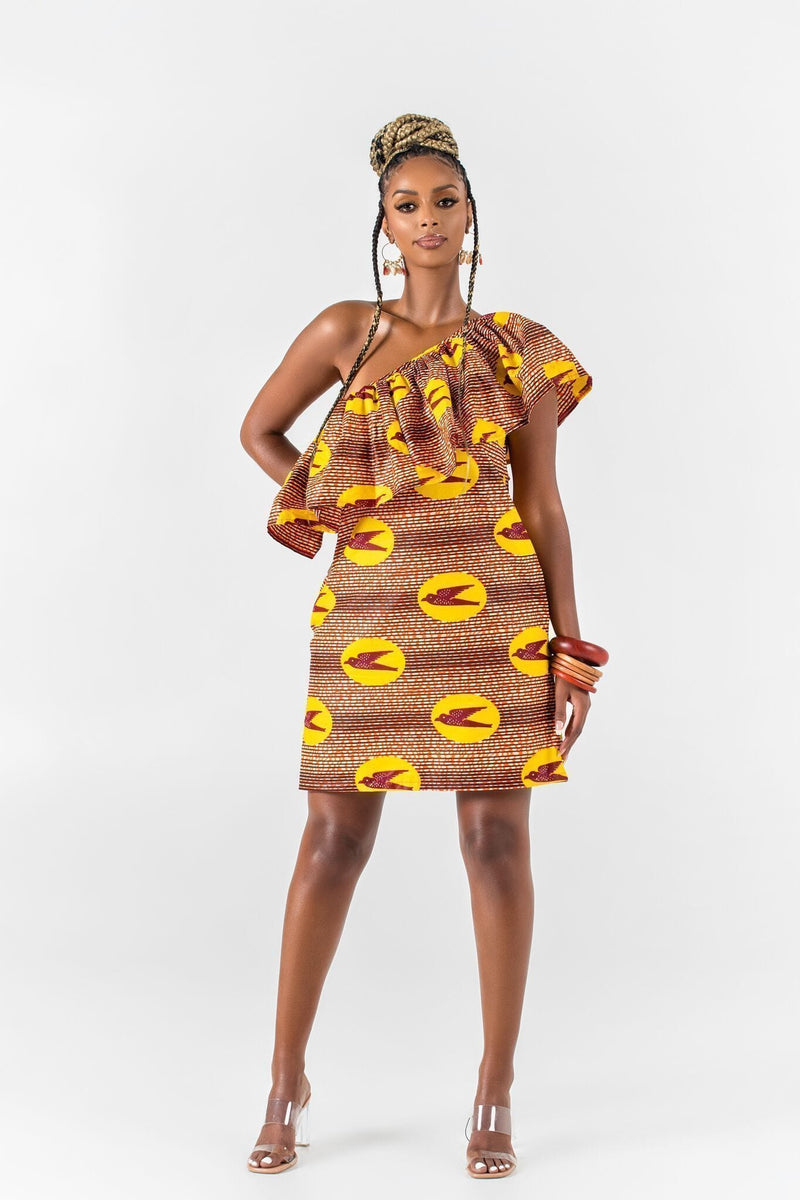 Grass-Fields Mid Lenght Dresses African Print Klervi One Shoulder Dress