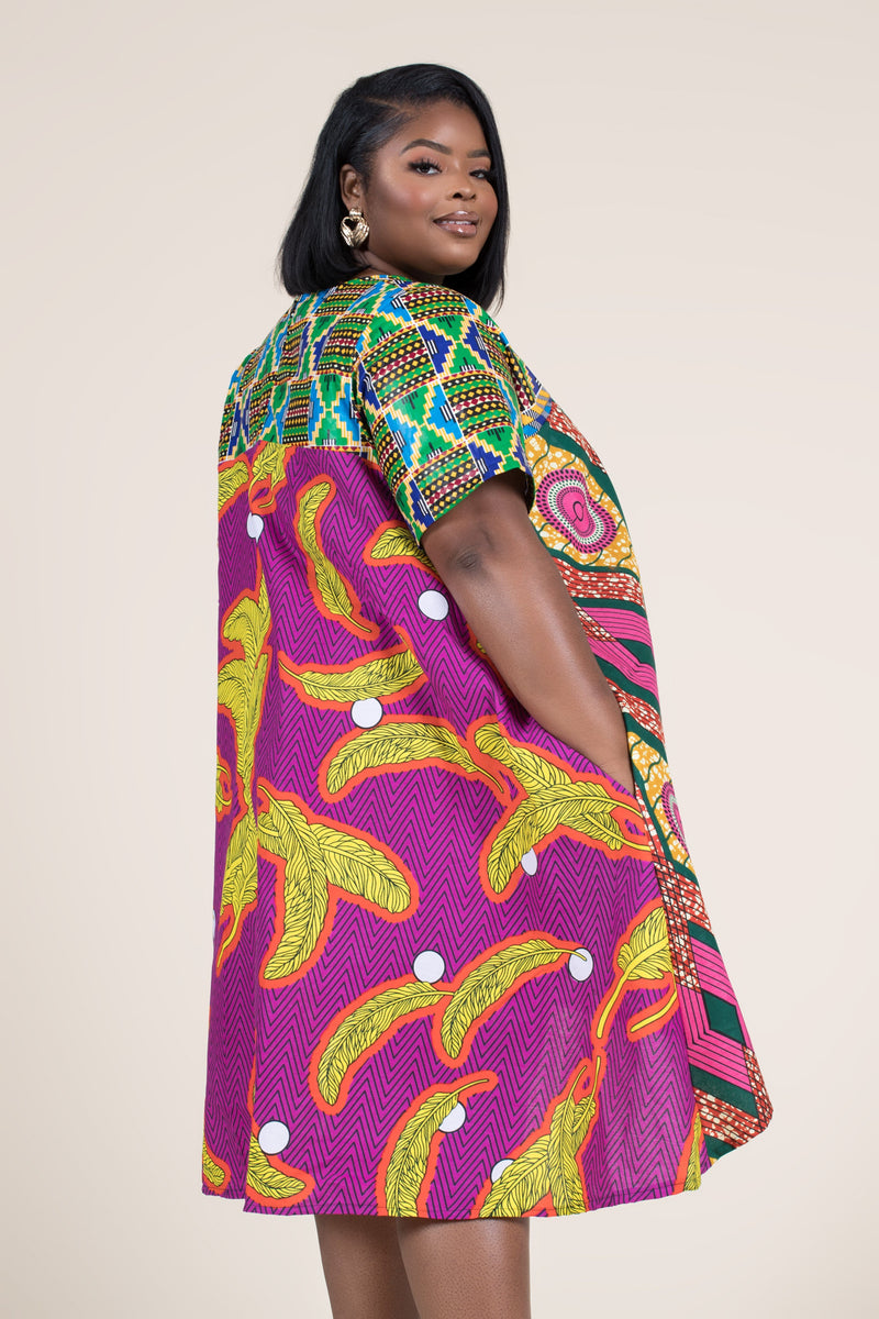 Grass-Fields Mid Lenght Dresses African Print Kya Highlow Dress