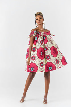 Grass-Fields Mid Lenght Dresses African Print Laurina Off Shoulder Dress