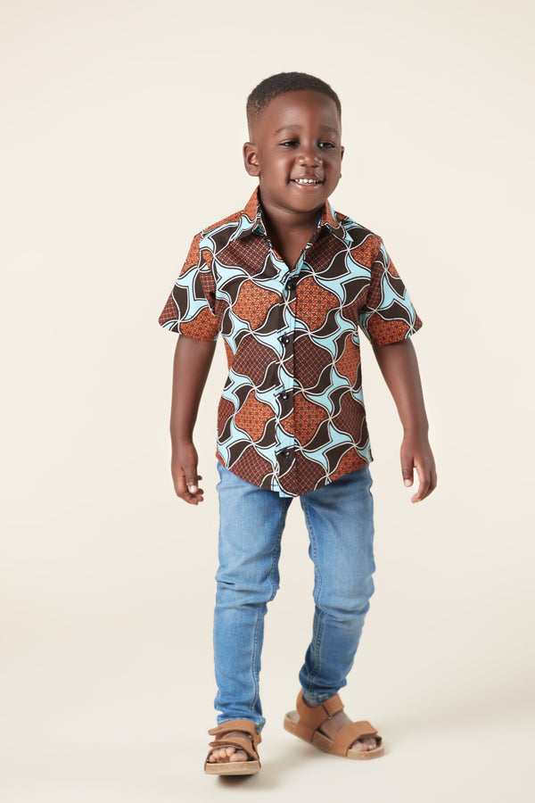 Grass-Fields Mid Lenght Dresses African Print Loic Kid's Shirt