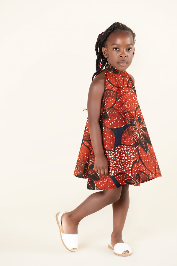 Grass-Fields Mid Lenght Dresses African Print Luna Kid's Dress