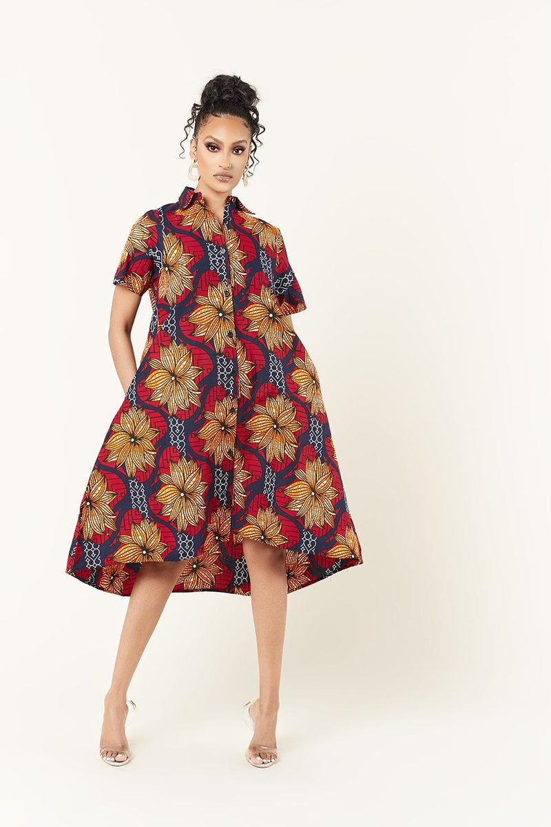 Grass-Fields Mid Lenght Dresses African Print Madison Dress