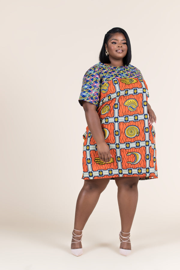 Grass-Fields Mid Lenght Dresses African Print Maha Shift Dress