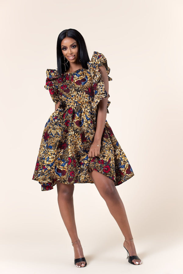 Grass-Fields Mid Lenght Dresses African Print Maisha dress