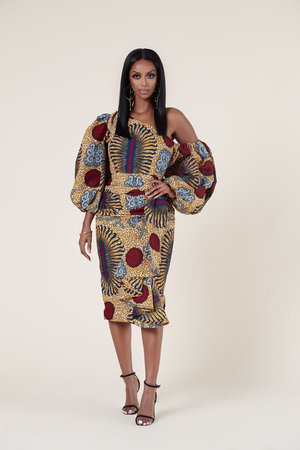 Grass-Fields Mid Lenght Dresses African Print Marafiki Dress