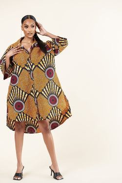 African Print Martha Shirt dress