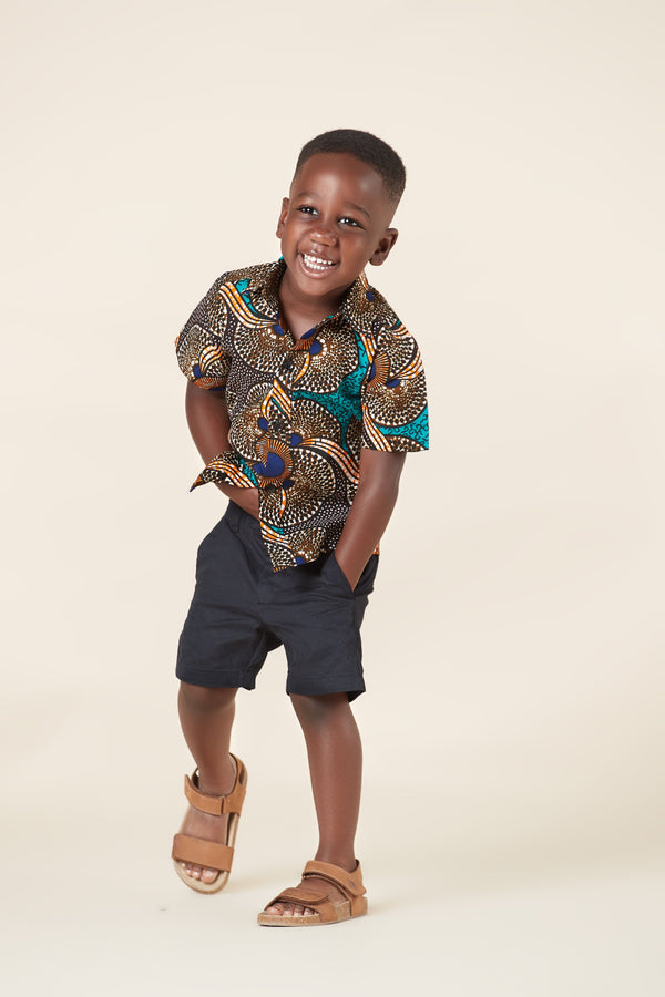Grass-Fields Mid Lenght Dresses African Print Mathis Kid's Shirt