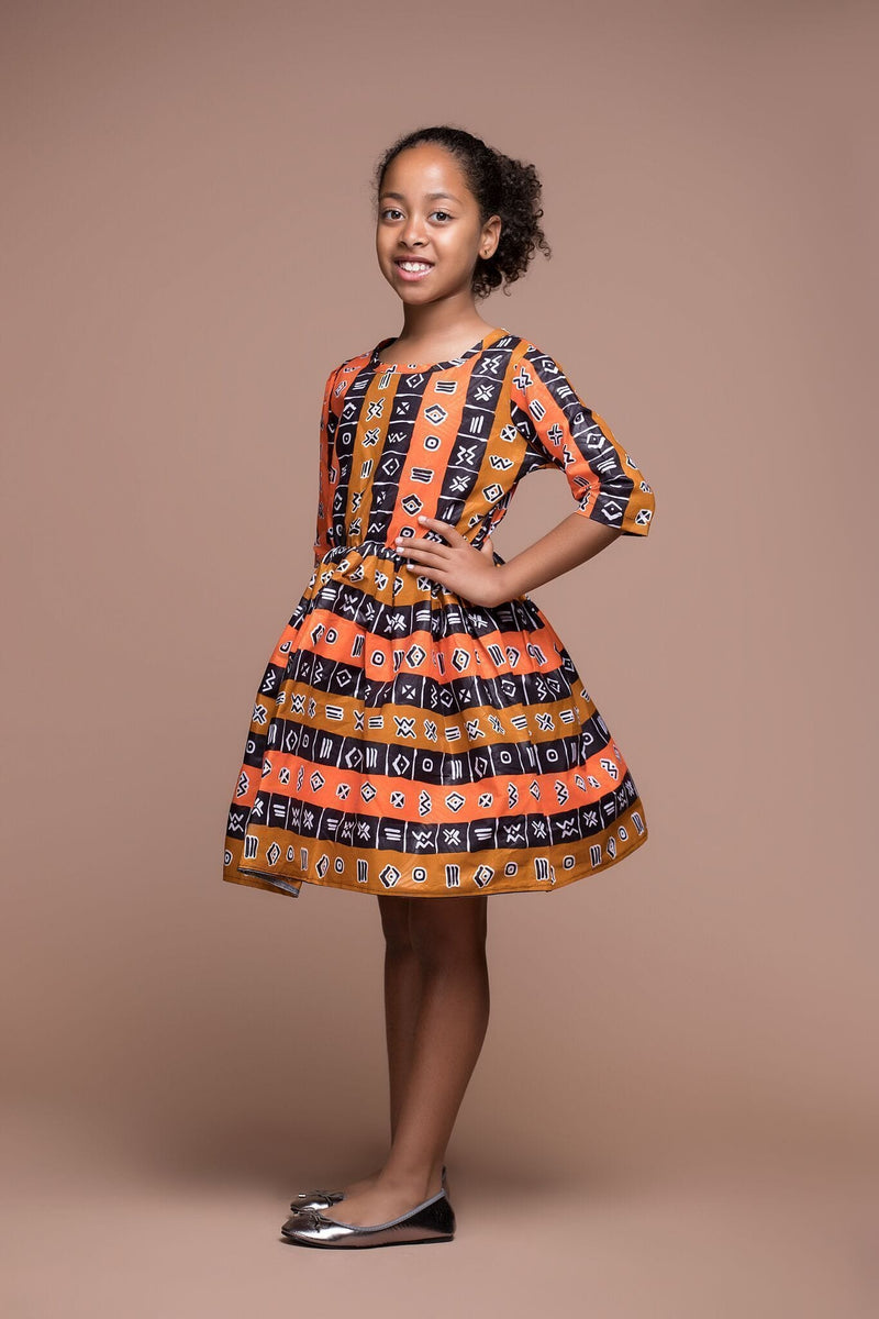 Grass-Fields Mid Lenght Dresses African Print Menan Kid's Dress