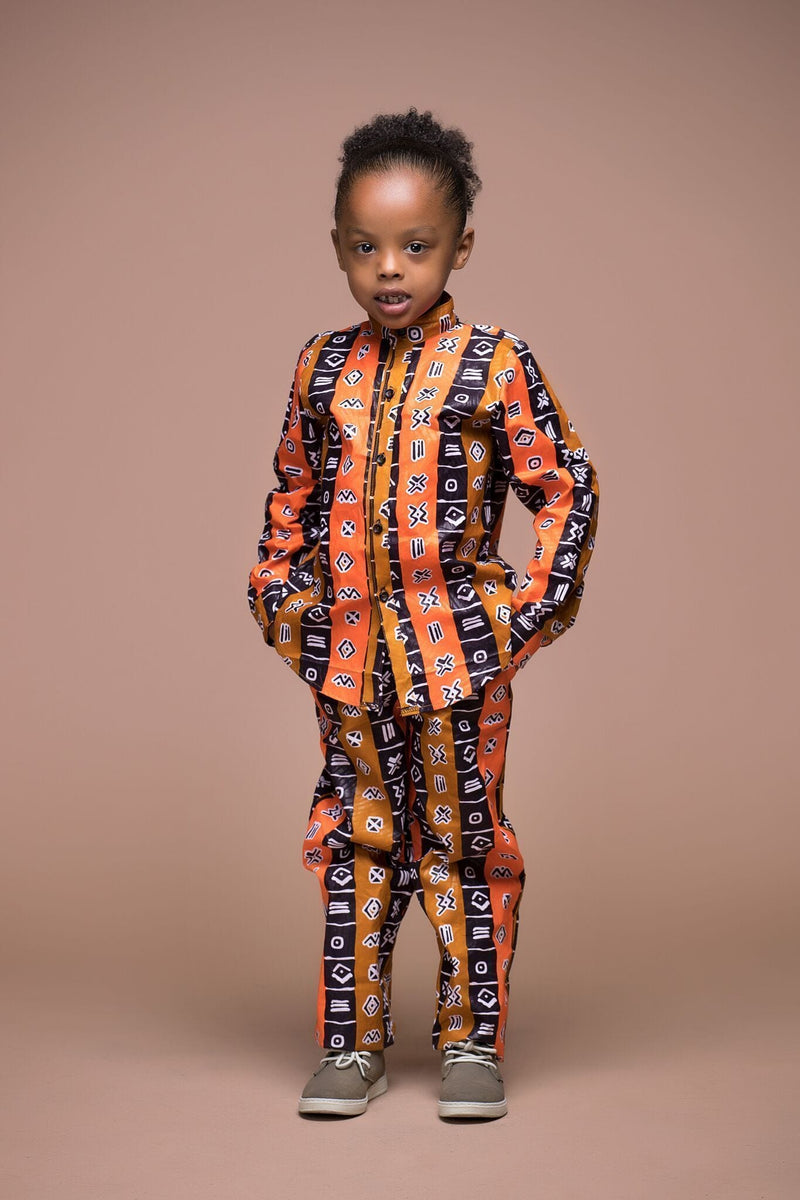 Grass-Fields Mid Lenght Dresses African Print Menan Kid's Trouser