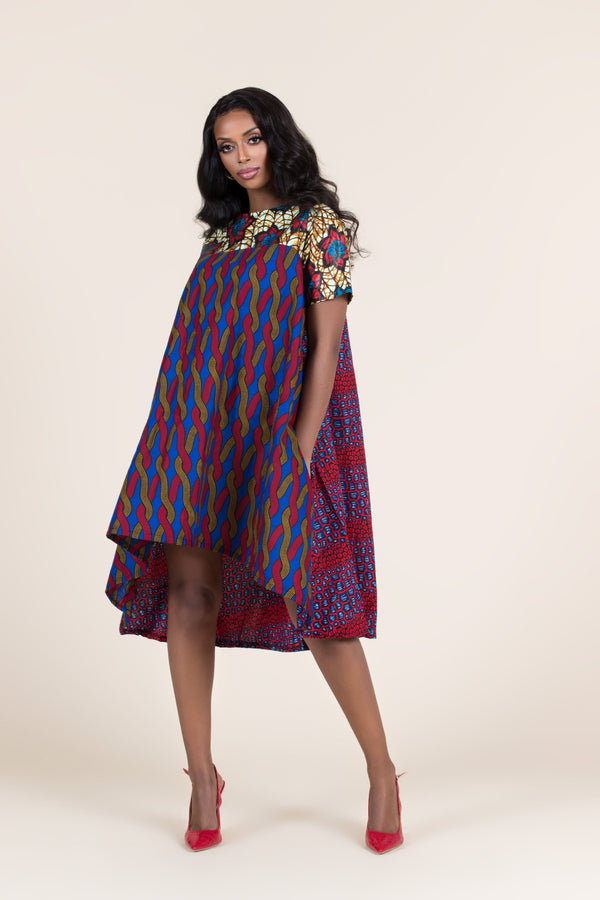 Grass-Fields Mid Lenght Dresses African Print Mikenna Highlow Dress