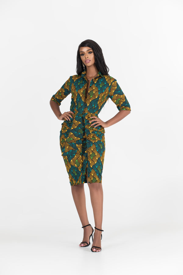 Grass-Fields Mid Lenght Dresses African Print Mila Shirt Dress