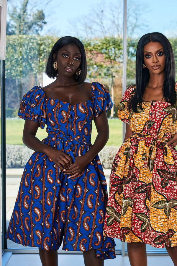 Grass-Fields Mid Lenght Dresses African Print Mirelle dress