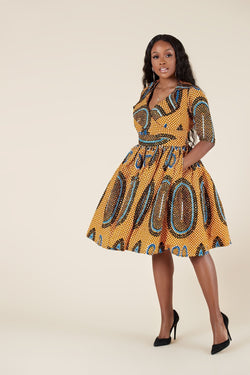 Grass-Fields Mid Lenght Dresses African Print Mudiwa Dress