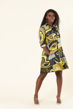 Grass-Fields Mid Lenght Dresses African Print Nafeesah  Shirt Dress