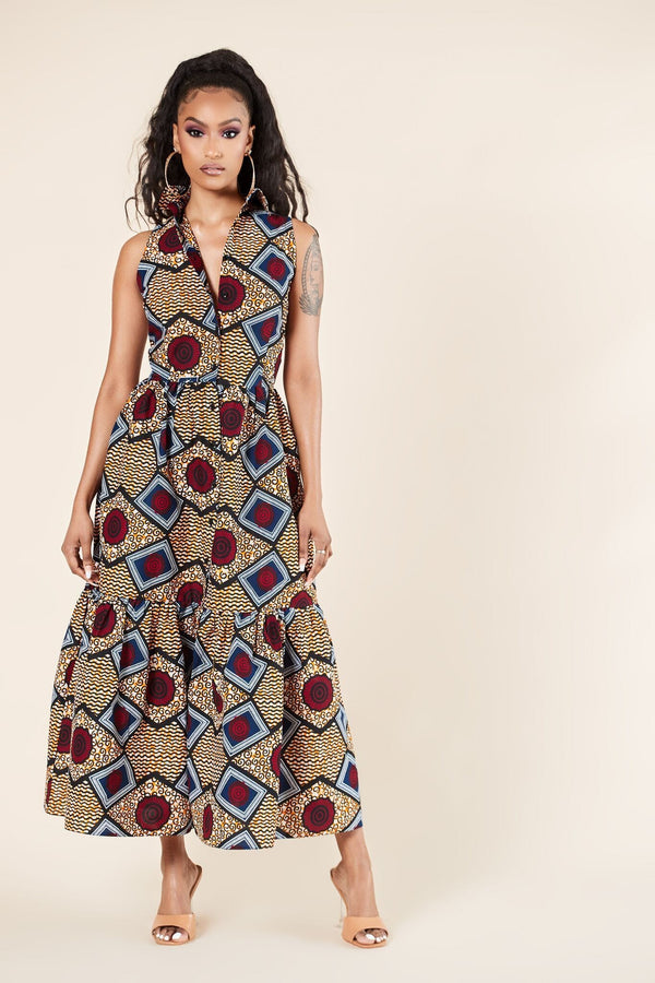 Grass-Fields Mid Lenght Dresses African Print Nakimera Dress