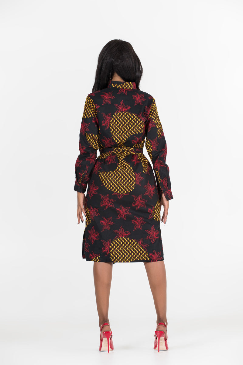 Grass-Fields Mid Lenght Dresses African Print Neta Midi Dress