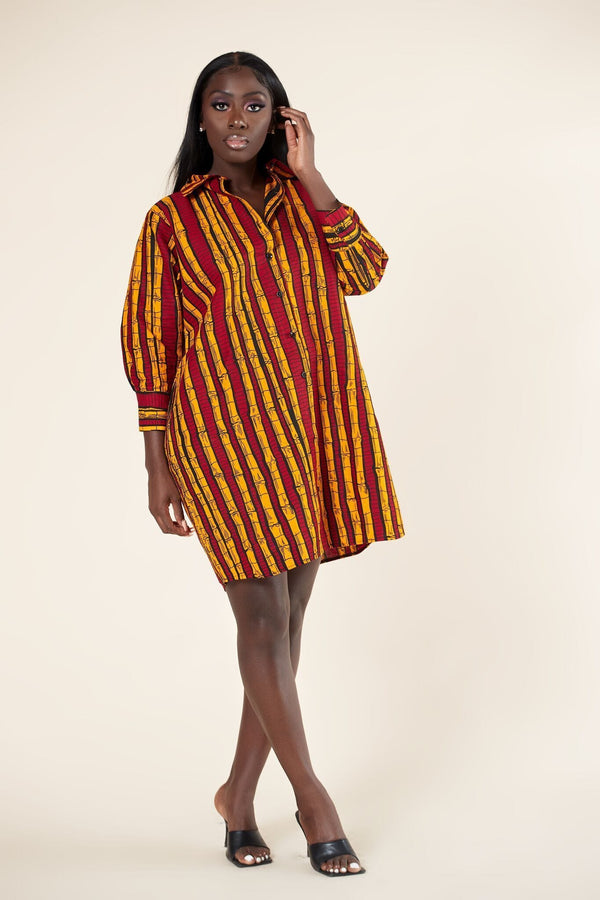 Grass-Fields Mid Lenght Dresses African Print Nneka Shirt dress