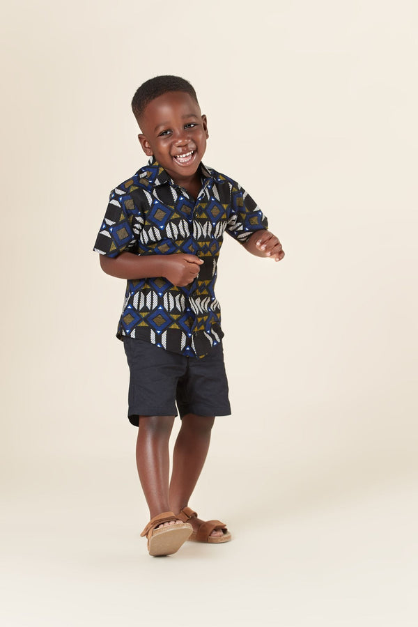 Grass-Fields Mid Lenght Dresses African Print Noah Kid's Shirt