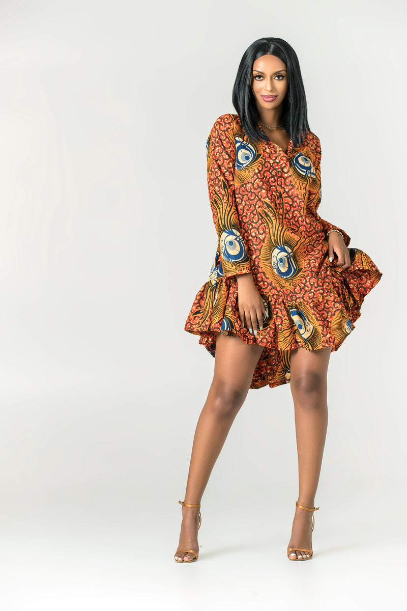 Grass-Fields Mid Lenght Dresses African Print Nombeko Dress