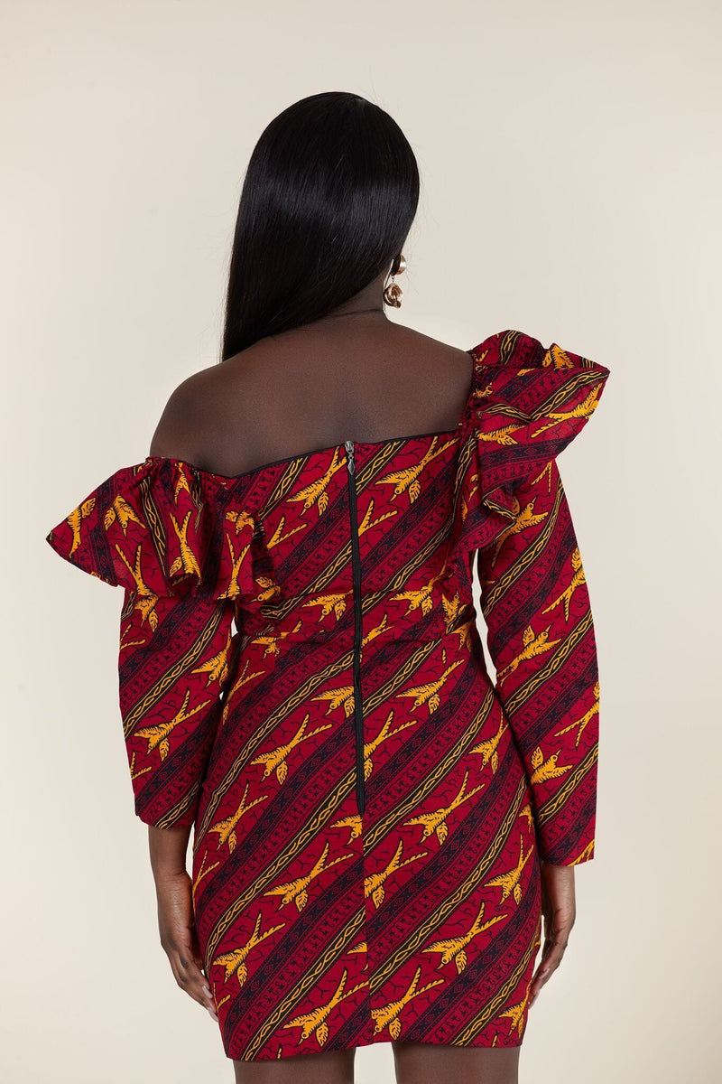 Grass-Fields Mid Lenght Dresses African Print Nomsa Dress