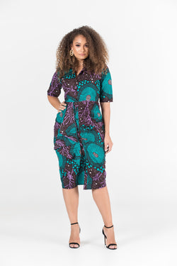 Grass-Fields Mid Lenght Dresses African Print Nora Shirt Dress