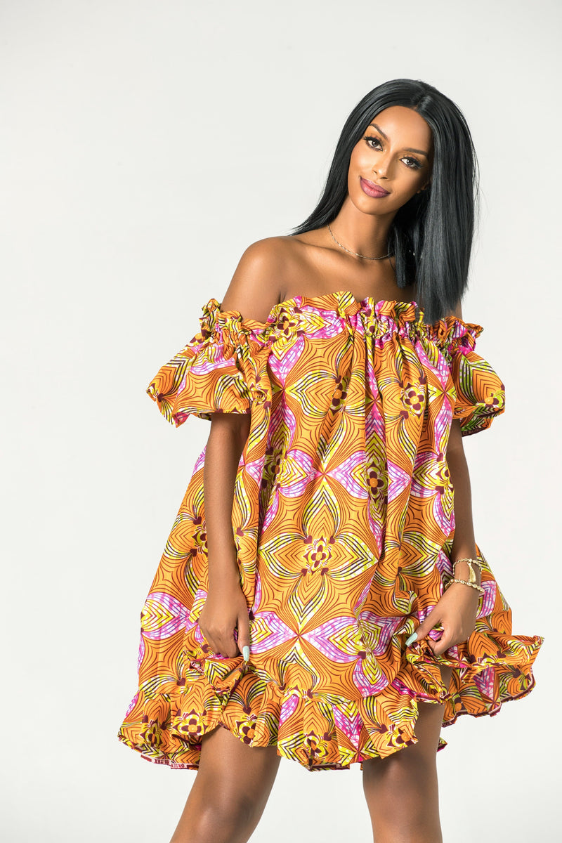 Grass-Fields Mid Lenght Dresses African Print Nyamo Dress