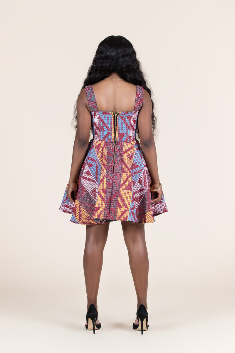 Grass-Fields Mid Lenght Dresses African Print Nyoka Mini Dress