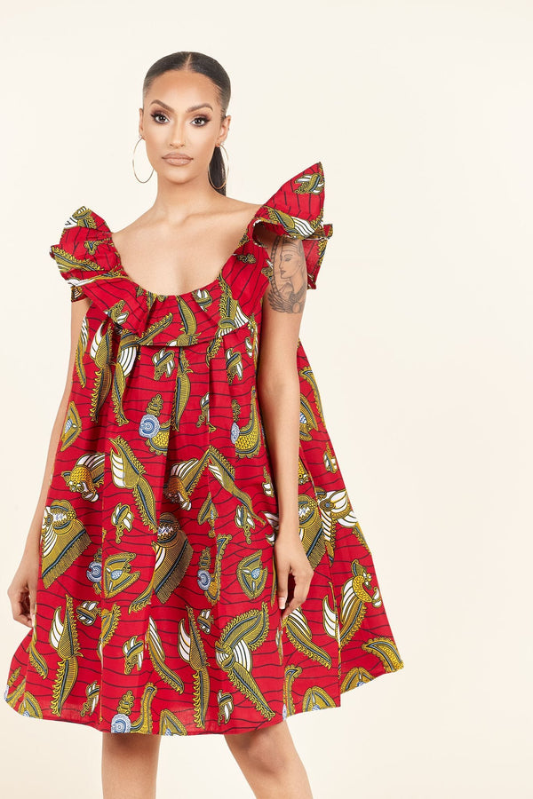 Grass-Fields Mid Lenght Dresses African Print Oge dress