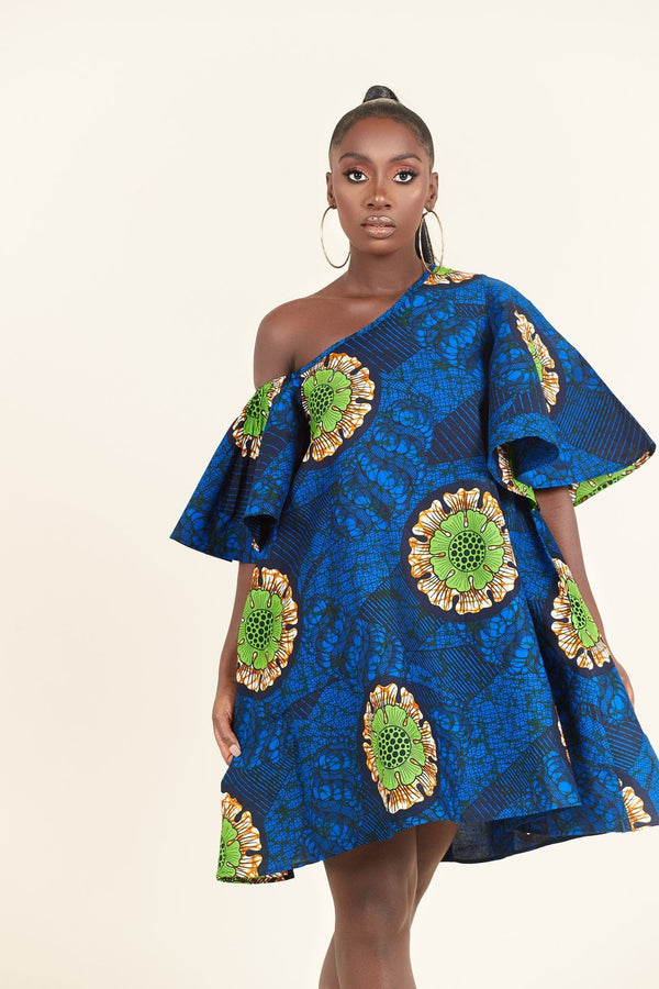 Grass-Fields Mid Lenght Dresses African Print Okafor dress