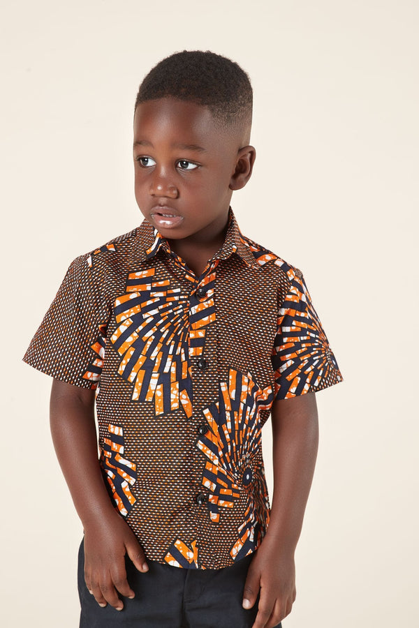 Grass-Fields Mid Lenght Dresses African Print Omari Kid's Shirt