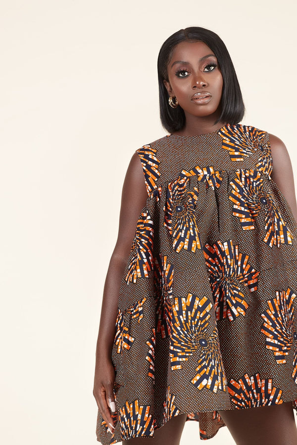 Grass-Fields Mid Lenght Dresses African Print Omotola Dress