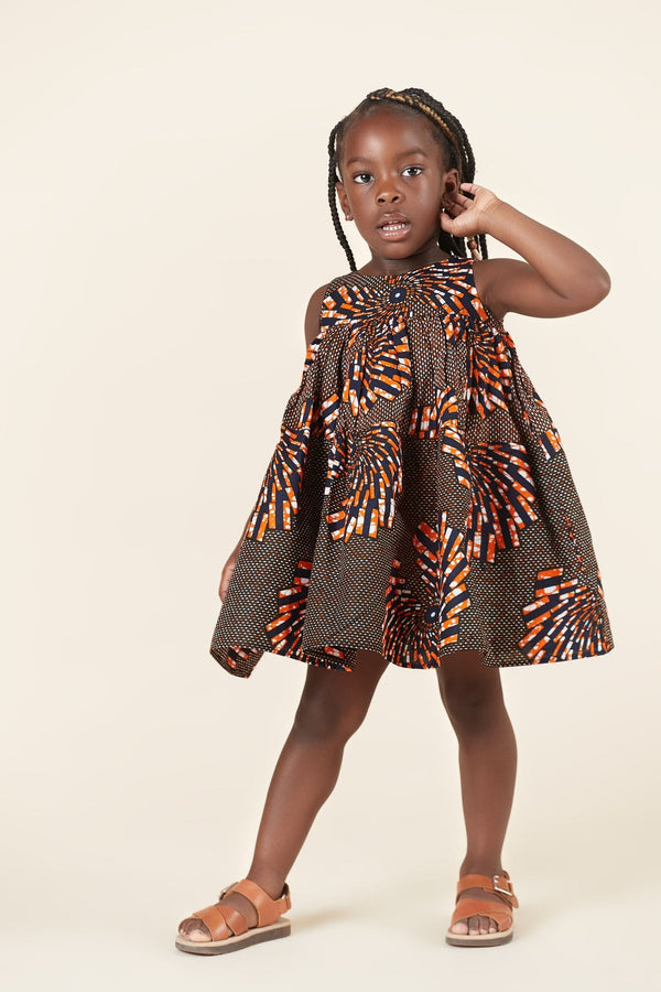 Grass-Fields Mid Lenght Dresses African Print Omotola Kid's Dress