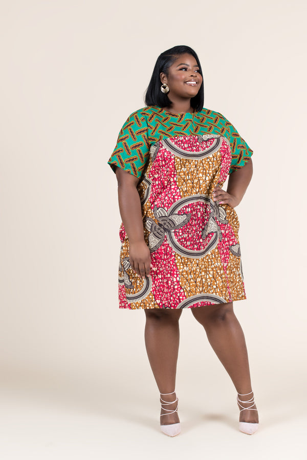 Grass-Fields Mid Lenght Dresses African Print Onyeka Shift Dress