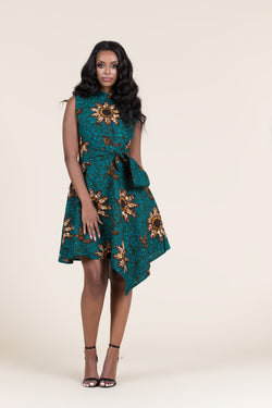 Grass-Fields Mid Lenght Dresses African Print Petra Dress