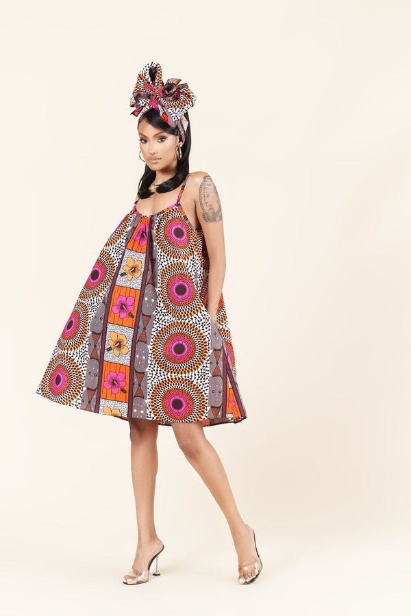 Grass-Fields Mid Lenght Dresses African Print Quiesha dress