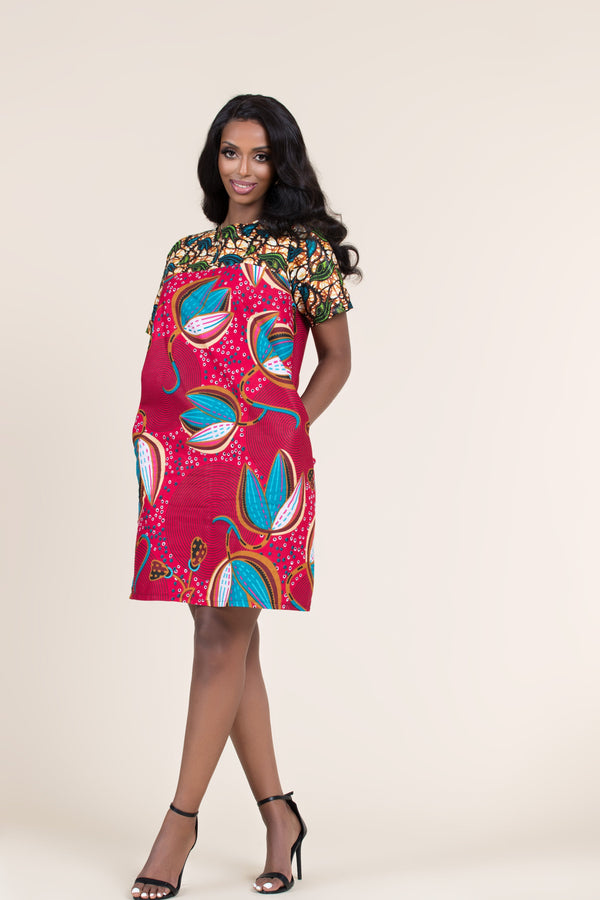 Grass-Fields Mid Lenght Dresses African Print Rafiki Shift Dress