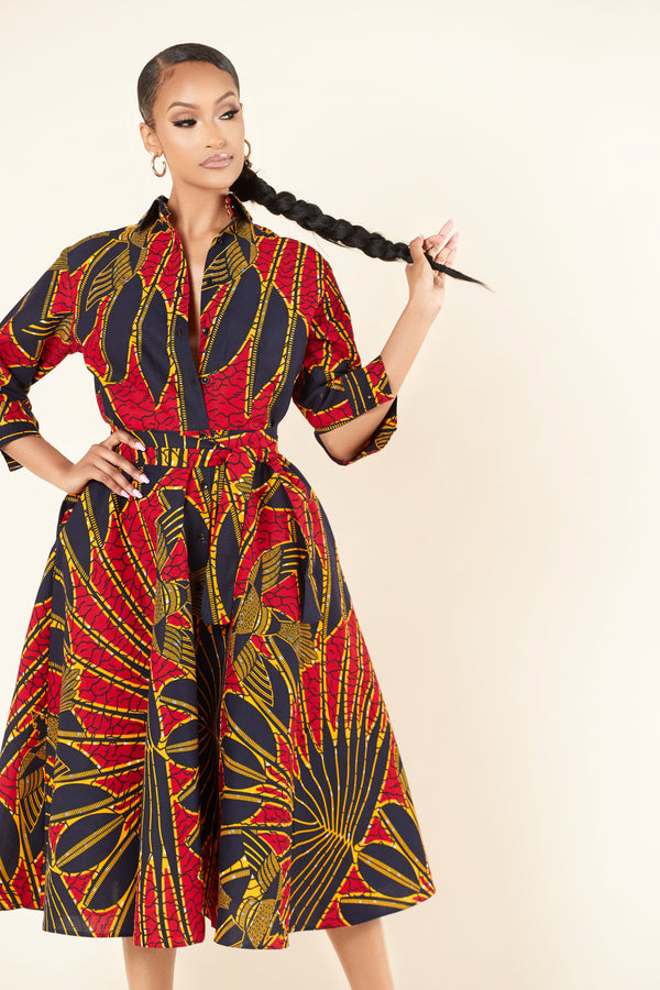 Grass-Fields Mid Lenght Dresses African Print Rehanna Shirt Dress