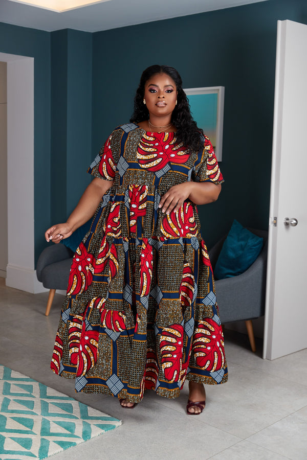 Grass-Fields Mid Lenght Dresses African Print Rita Dress