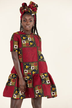 Grass-Fields Mid Lenght Dresses African Print Romi  dress