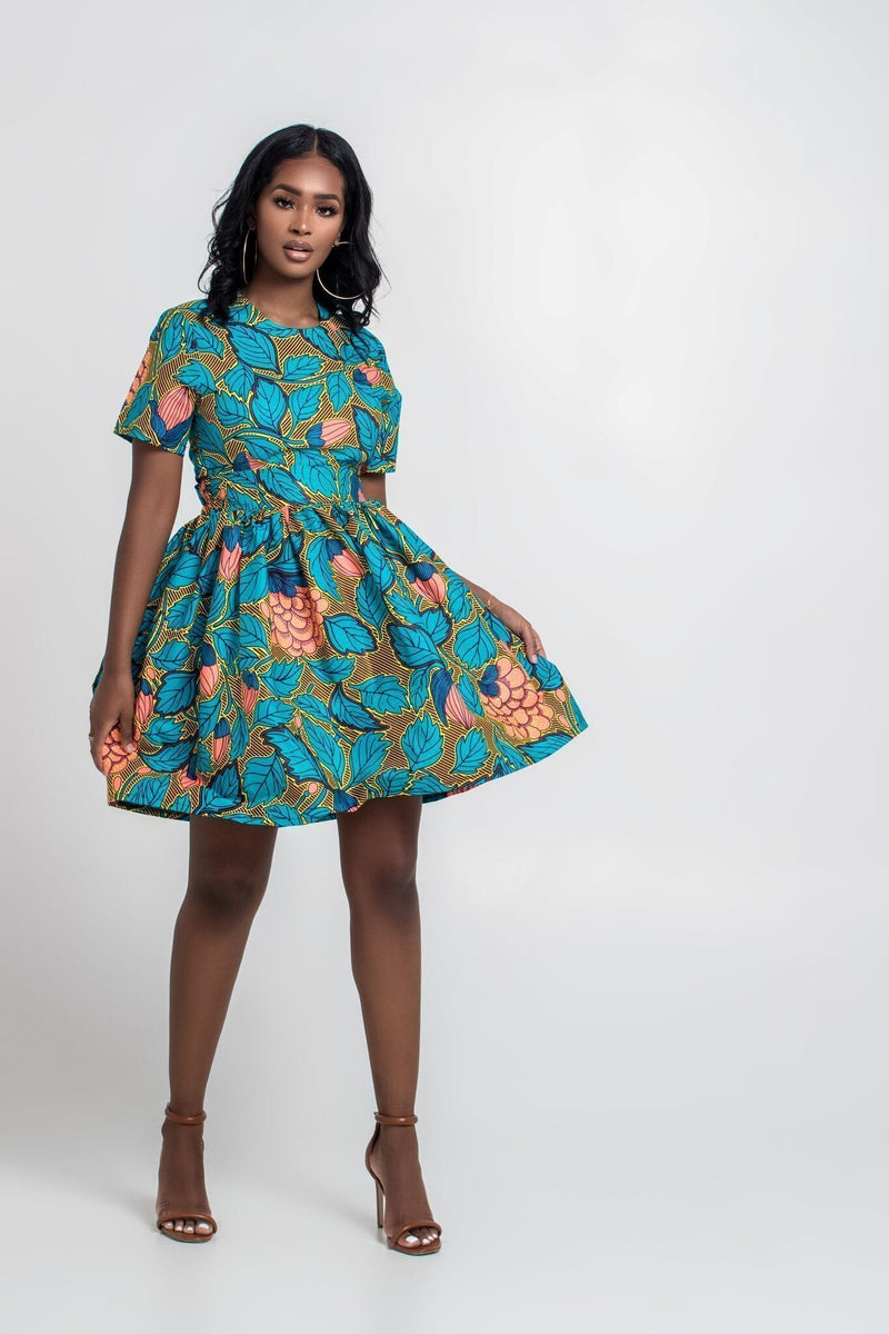 Grass-Fields Mid Lenght Dresses African Print Rosella Dress