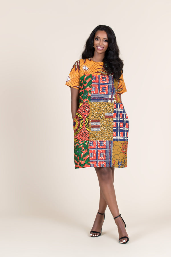 Grass-Fields Mid Lenght Dresses African Print Safara Shift Dress
