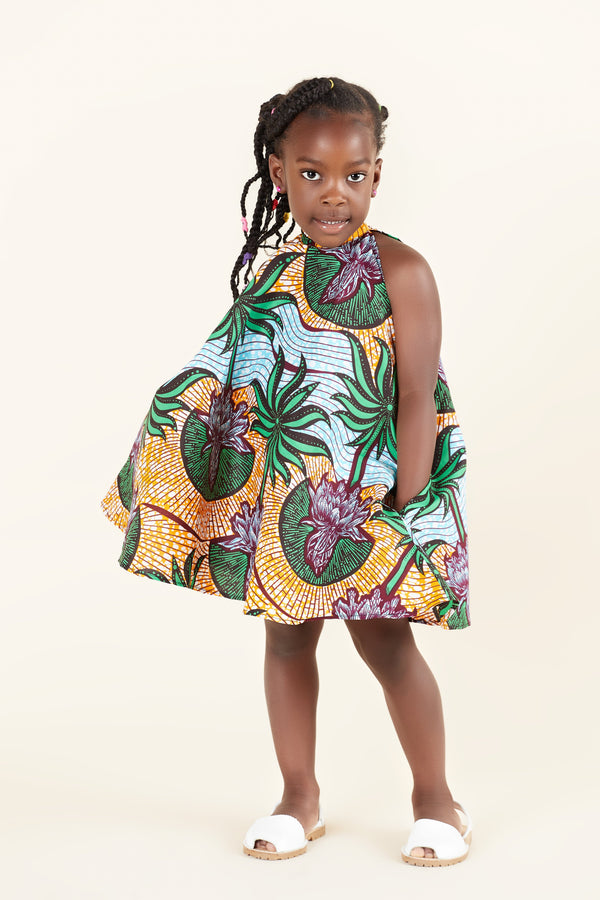 Grass-Fields Mid Lenght Dresses African Print Sahara Kid's Dress