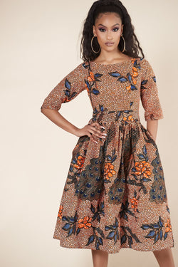 Grass-Fields Mid Lenght Dresses African Print Sassandra Dress